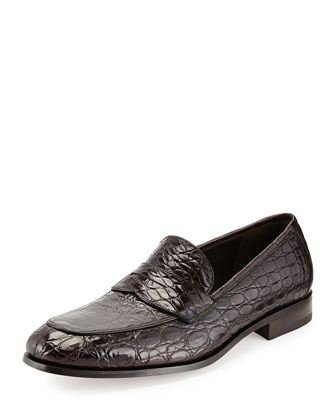 Pablo 2 Crocodile Penny Loafer, Mocha