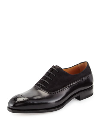 Piacenza 2 Tramezza Special Edition Suede and Calfskin Oxford, Black