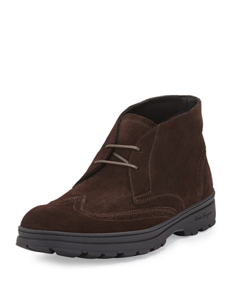 Parker Suede Wing-Tip Boot, Brown