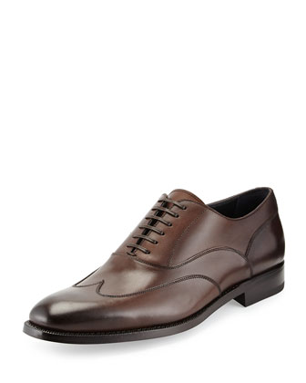 Leather Wing-Tip Oxford, Brown