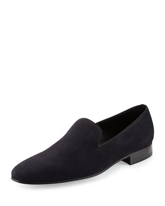 Suede Slip-On Loafer, Navy
