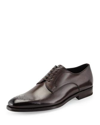Garonne Medallion-Toe Derby Shoe, Dark Brown