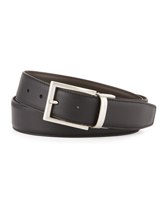 Matte Reversible Belt, Black/Dark Brown