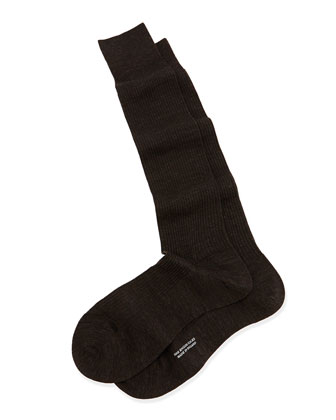 Over-the-Calf Ribbed Wool Socks, Dark Gray