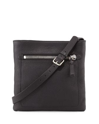Grain Leather Messenger Bag, Black