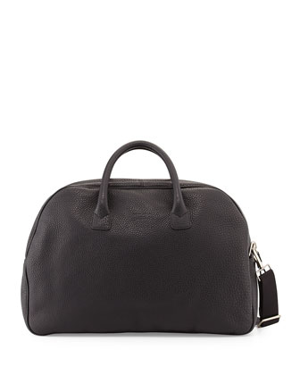 Grain Leather Duffel Bag, Black