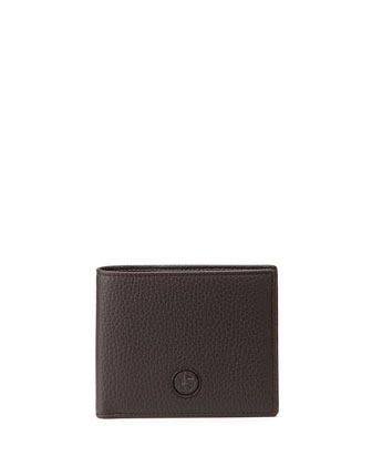 Pebbled Leather Wallet, Brown