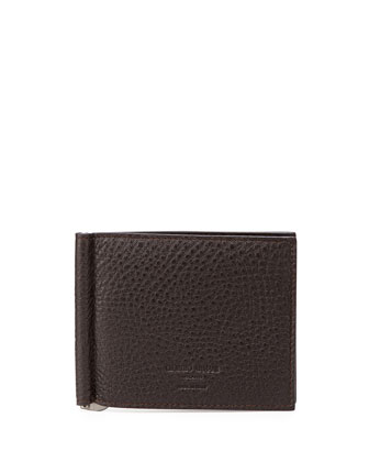 Leather Money-Clip Wallet, Brown