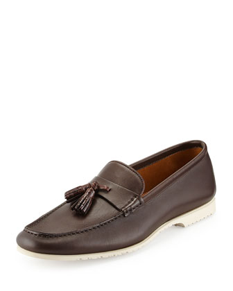 Croc-Tassel Leather Boat Shoe, Brown