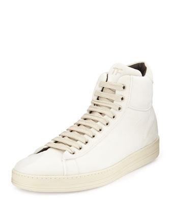 Velvet High-Top Sneaker, White