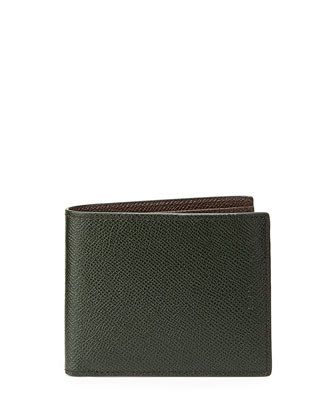 Bollen Bi-Color Leather Wallet, Green