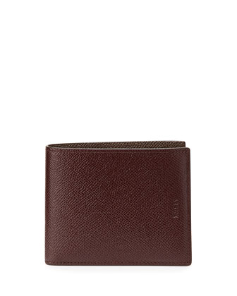 Bollen Bi-Color Leather Wallet, Aubergine