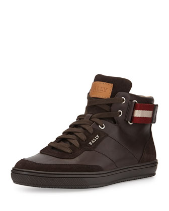 Olsen Leather High-Top Sneaker, Dark Brown