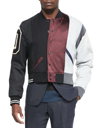 Multi Matchwork Varsity Jacket, Cotton-Blend Two-Button Jacket, Crewneck ...