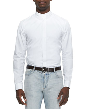 Banded Collar Poplin Dress Shirt, White