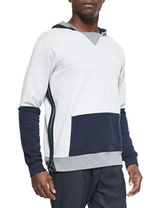 Colorblock Side-Zip Hoodie, Light Gray/Navy