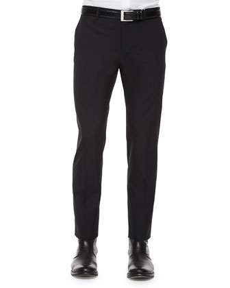 Slim Tropical-Wool Trousers, Black