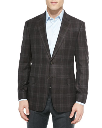 G-Line Windowpane Plaid Jacket, Brown/Red
