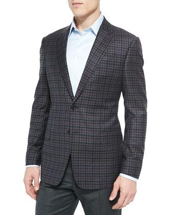 G-Line Classic Check Jacket, Blue/Gray/Burgundy