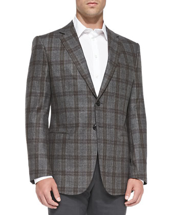 Plaid Two-Button Jacket, Green/Brown