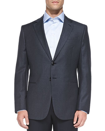 Small-Check Wool Jacket, Blue/Navy