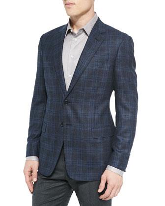 G-Line Plaid Jacket, Blue/Black