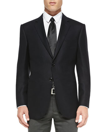 Hopsack Two-Button Jacket, Navy