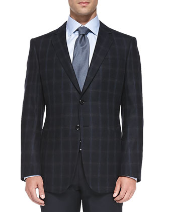 Twill Windowpane Jacket, Navy