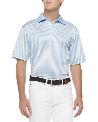 Classic-Stripe Lisle-Knit Polo, Light Blue