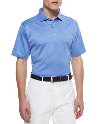 Sumter Stripe Lisle Polo Shirt, Light Blue