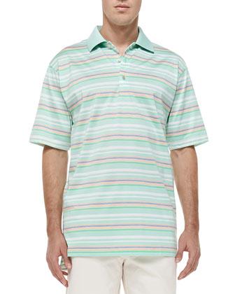 Edwards Lisle-Striped Polo Shirt, Green