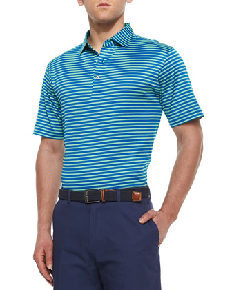 Striped Lisle Knit Polo Shirt, Blue