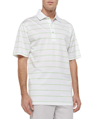 Alex Striped Short-Sleeve Polo, White/Green