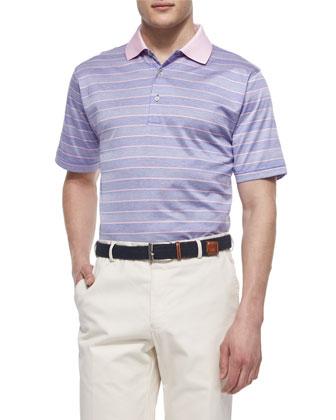 Harvey Striped Short-Sleeve Polo, Purple