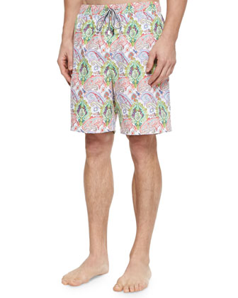 Paisley-Print Swim Trunks, White/Multi