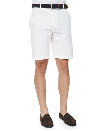 Raleigh Flat-Front Walking Shorts, White