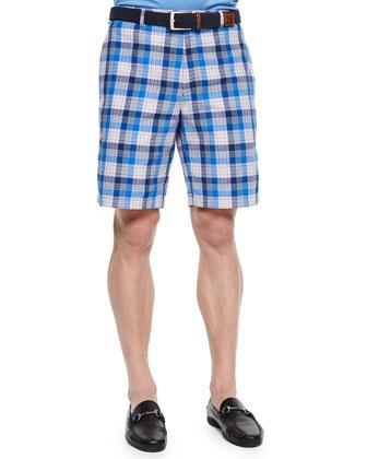 Multi-Check Plaid Shorts, Navy