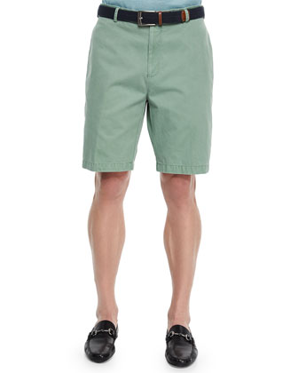 Raleigh Washed Twill Shorts, Green