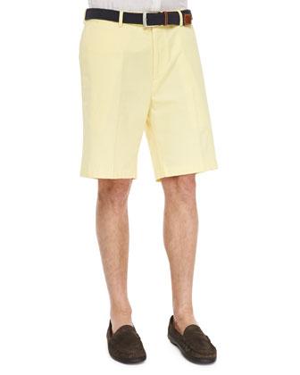 Daylight Flat-Front Shorts, Yellow