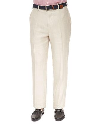 Flat-Front Linen/Silk Pants, Khaki
