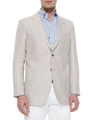 Solid Linen Sport Jacket, Mini-Tattersall Woven Sport Shirt & 5-Pocket ...