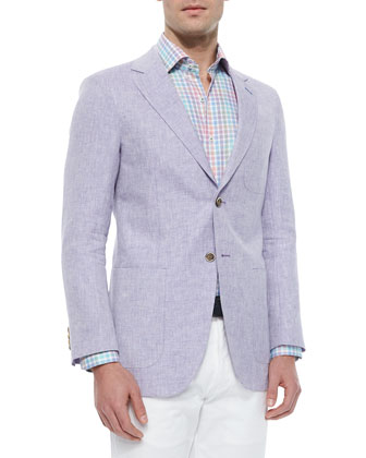 Linen Two-Button Sport Jacket, Oxford Multi-Windowpane Sport Shirt & ...