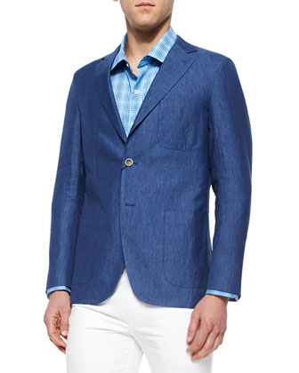 Soft Linen Two-Button Sport Coat, Blue