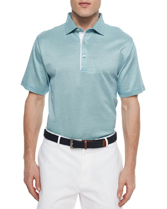 Barris Birdseye Lisle-Knit Polo, Light Blue