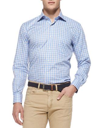 Oxford Tattersall Sport Shirt, Blue