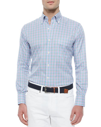 Mini-Tattersall Woven Sport Shirt, Light Blue