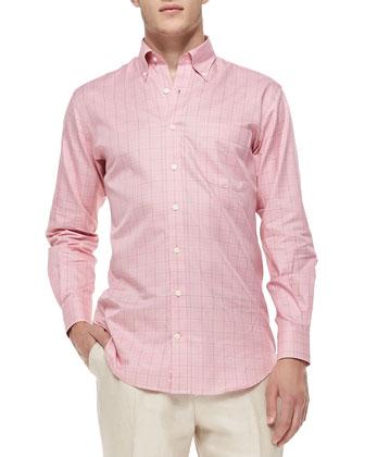 Mini-Glen Plaid Sport Shirt, Pink