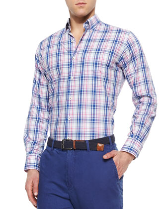 Large Melange Plaid Sport Shirt, Navy/Multi