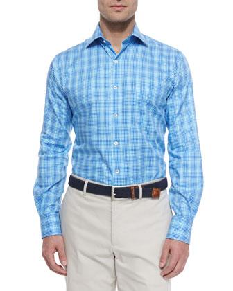 Oxford Multi-Windowpane Sport Shirt, Navy