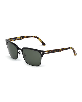 River Square Sunglasses, Black/Tortoise